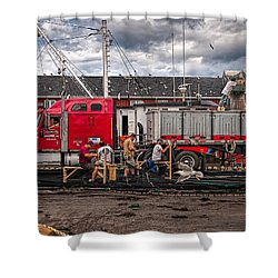 Unloading Fish And Mending Nets Shower Curtain by Bob Orsillo