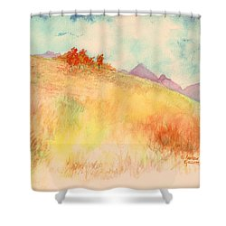 Shower Curtain featuring the painting Untitled Autumn Piece by Andrew Gillette