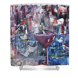 Shower Curtain featuring the painting Untitled by Evelina Popilian