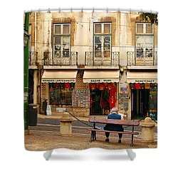 Lisbon Street Scene Shower Curtain