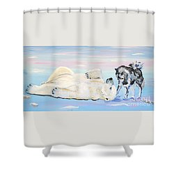 Unusual Buddies  Must Open Shower Curtain