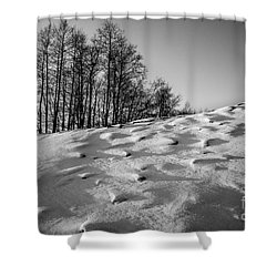 Up To The Hill Bw Shower Curtain