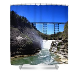 Upper Waterfalls In Letchworth State Park Shower Curtain by Paul Ge