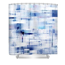 Uptown Blues On Square -abstract -art Shower Curtain