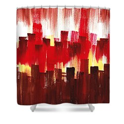 Shower Curtain featuring the painting Urban Abstract Evening Lights by Irina Sztukowski