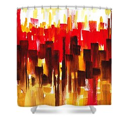Shower Curtain featuring the painting Urban Abstract Glowing City by Irina Sztukowski