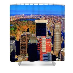 Urban Abstract New York City Skyline And Central Park Shower Curtain by Dan Sproul