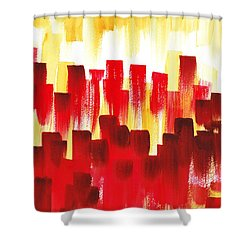 Shower Curtain featuring the painting Urban Abstract Red City Lights by Irina Sztukowski