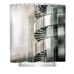 Urban Drill - Cyan Shower Curtain by Hannes Cmarits