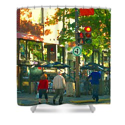 Urban Explorers Couple Walking Downtown Streets Of Montreal Summer Scenes Carole Spandau Shower Curtain by Carole Spandau