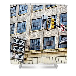 Urban Garage Monthly Parking Only Shower Curtain by Janice Rae Pariza
