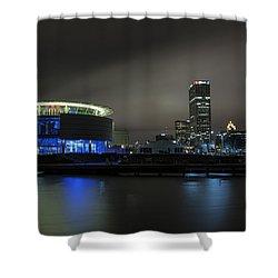 Urban Sapphire Shower Curtain by CJ Schmit
