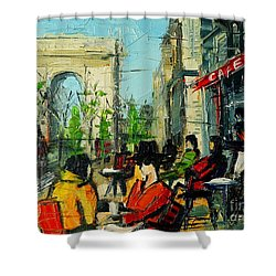 Urban Story - Champs Elysees Shower Curtain by Mona Edulesco