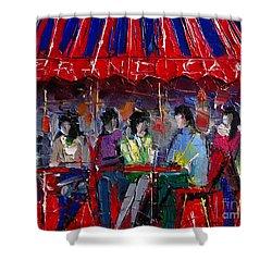 Urban Story - Grand Cafe Shower Curtain by Mona Edulesco