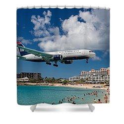 U S Airways Landing At St. Maarten Shower Curtain