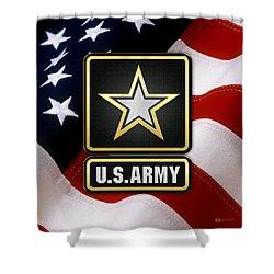 U. S. Army Logo Over American Flag. Shower Curtain by Serge Averbukh