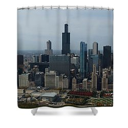 Us Cellular And Wrigley Field Chicago Baseball Parks 3 Panel Composite 02 Shower Curtain by Thomas Woolworth