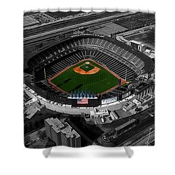 Us Cellular Field Chicago Sports 08 Selective Coloring Digital Art Shower Curtain by Thomas Woolworth