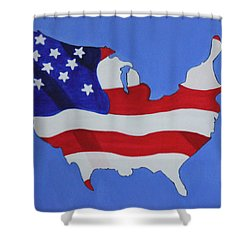 Us Flag Shower Curtain by Lorna Maza