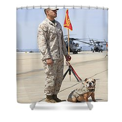 U.s. Marine And The Official Mascot Shower Curtain