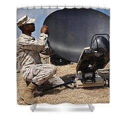 U.s. Marine Assembles A Support Wide Shower Curtain by Stocktrek Images