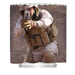 Us Marine At Work Shower Curtain by Shoal Hollingsworth