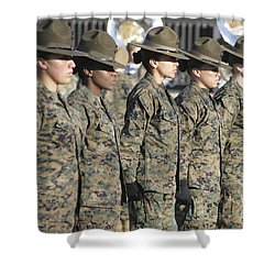 Shower Curtain featuring the photograph U.s. Marine Corps Female Drill by Stocktrek Images