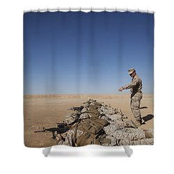 U.s. Marine Corps Officer Directs Shower Curtain by Stocktrek Images