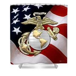 U. S. Marine Corps - U S M C Eagle Globe And Anchor Over American Flag. Shower Curtain by Serge Averbukh