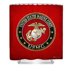 U. S. Marine Corps - U S M C Emblem Special Edition Shower Curtain by Serge Averbukh