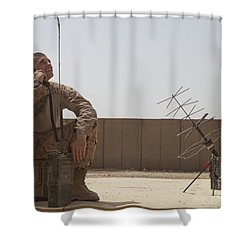 U.s. Marine Looks Up To The Sky While Shower Curtain by Stocktrek Images