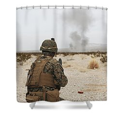 U.s. Marine Provides Security As Part Shower Curtain by Stocktrek Images