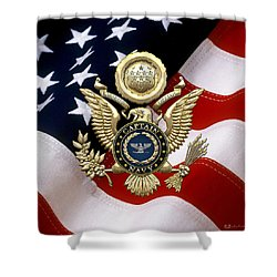 U. S.  Navy Captain - C A P T  Rank Insignia Over Gold Great Seal Eagle And Flag Shower Curtain