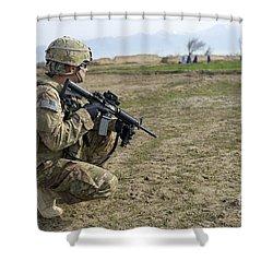 U.s. Soldier Patrols A Village Shower Curtain by Stocktrek Images