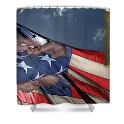 Us Veterans Burial Flag 3 Panel Composite Digital Art Shower Curtain by Thomas Woolworth