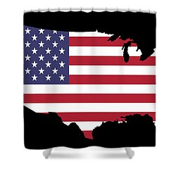 Usa And Flag Shower Curtain