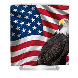 Usa Flag And Bald Eagle Shower Curtain by Carsten Reisinger