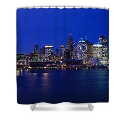Usa, Michigan, Detroit, Night Shower Curtain