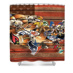 Usa Nfl Map Collage 10 Shower Curtain