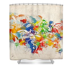 Usa Nfl Map Collage 12 Shower Curtain by Bekim Art