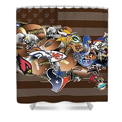 Usa Nfl Map Collage 2 Shower Curtain