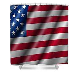 Usa Stars And Stripes Flying American Flag Shower Curtain