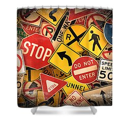 Usa Traffic Signs Shower Curtain by Carsten Reisinger