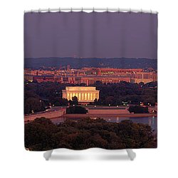 Usa, Washington Dc, Aerial, Night Shower Curtain