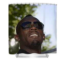 Shower Curtain featuring the photograph Usain Bolt - The Legend 1 by Teo SITCHET-KANDA