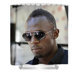 Shower Curtain featuring the photograph Usain Bolt - The Legend 3 by Teo SITCHET-KANDA