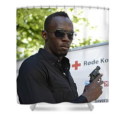 Shower Curtain featuring the photograph Usain Bolt - The Legend 4 by Teo SITCHET-KANDA