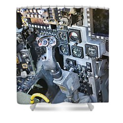 Usmc Av-8b Harrier Cockpit Shower Curtain by Olga Hamilton