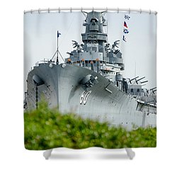 Shower Curtain featuring the photograph Uss Alabama 2 by Susan  McMenamin