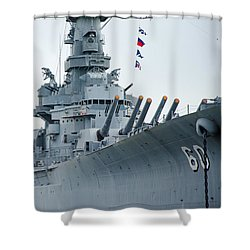 Shower Curtain featuring the photograph Uss Alabama 3 by Susan  McMenamin